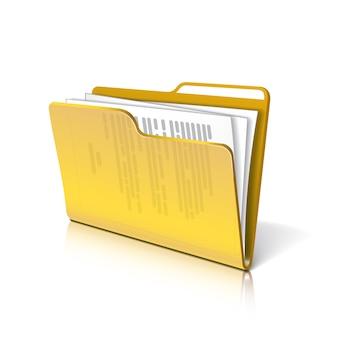 Gele doorzichtige map met papieren. document icoon.