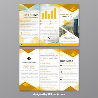 Gele driebladige bedrijfsbrochure
