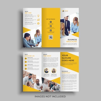 Gele driebladige brochure ontwerpsjabloon