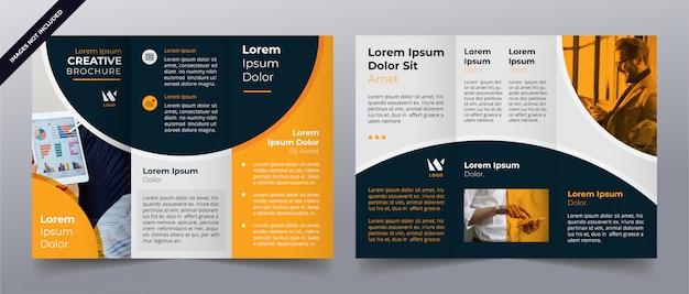 Gele driebladige zakelijke brochure sjabloon