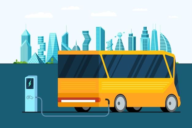 Gele elektrische bus bij het laadstation op de stadsweg, een modern elektrohybride futuristisch voertuig