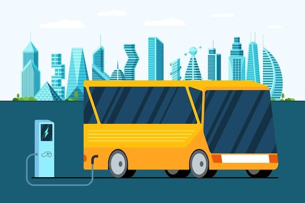 Gele elektrische bus bij het tanken van stroomlaadstation op toekomstige moderne hybride futuristische stad