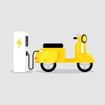 Gele elektrische scooter met laadstation voor elektrische voertuigen.