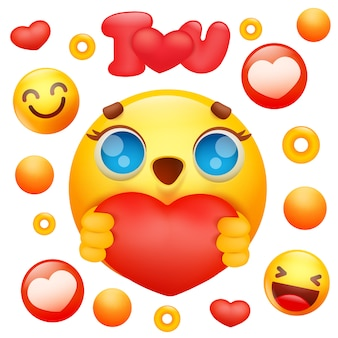 Gele emoji 3d glimlach gezicht stripfiguur rood hart pictogram te houden.