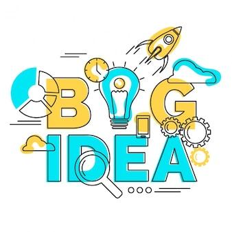 Gele en blauwe achtergrond van de grote idee