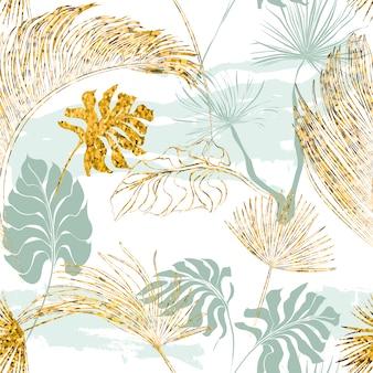Gele en blauwe bladeren patroon achtergrond