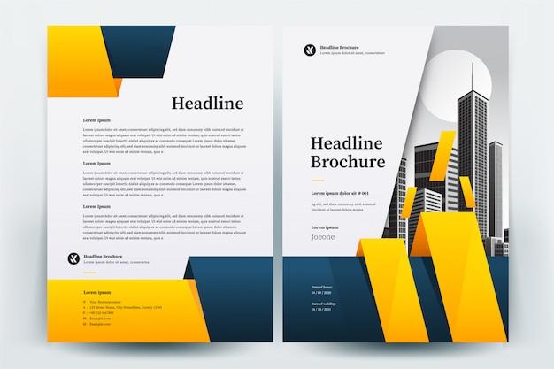Gele en blauwe cirkel zakelijke brochure lay-out sjabloon