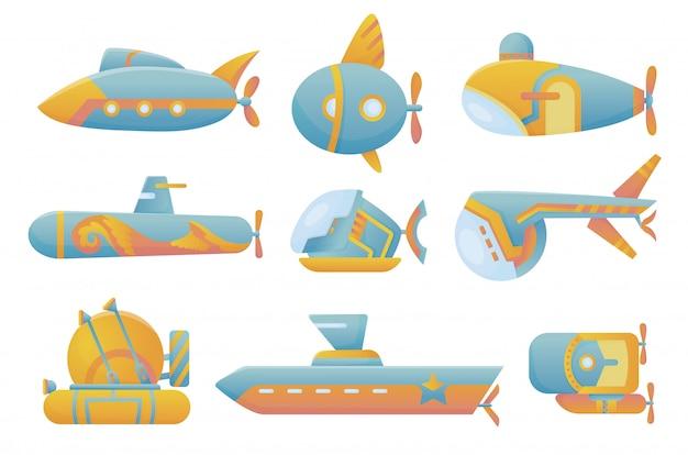 Gele en blauwe onderzeeër instellen onderzeese cartoon-stijl bathyscaphe onderwater schip, duiken verkennen aan de onderkant van zee plat vector design.