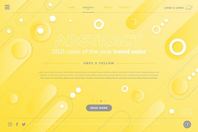 Gele en grijze abstracte bestemmingspagina