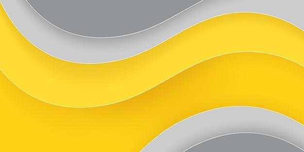 Gele en grijze achtergrond met verschillende golvende vormen in papierstijl