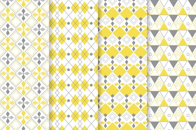 Gele en grijze geometrische patronen