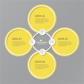 Gele en grijze kleuren voor infographic met dunne lijnpictogrammen. 4 opties of stappen