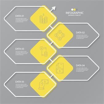 Gele en grijze kleuren voor infographic met dunne lijnpictogrammen. 5 opties of stappen