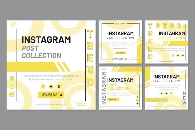 Gele en grijze posts op sociale media Gratis Vector