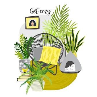 Gele en grijze stedelijke jungle kamer met gezellige stoel en slapende kat, tropische potplanten, met de hand getekende platte illustratie
