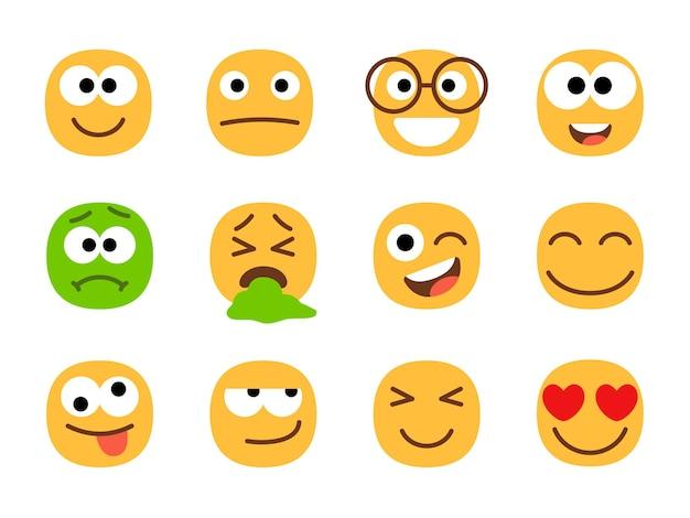 Gele en groene emoticon gezichten.