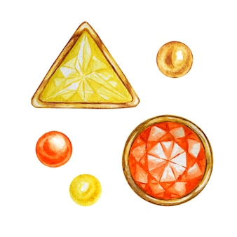 Gele en oranje edelsteen voor het maken van sieraden illustratie