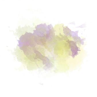 Gele en paarse aquarel geschilderd vlek geïsoleerd