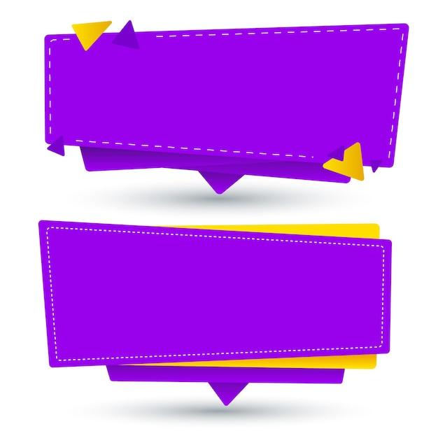 Gele en paarse lege banner set