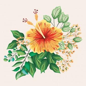 Gele en rode hawaiiaanse bloem met bladeren die ontwerp schilderen, de natuurlijke bloemendecoratie van de het ornamenttuin van de aardinstallatie