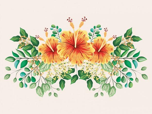 Gele en rode hawaiiaanse bloemen met bladeren die ontwerp schilderen