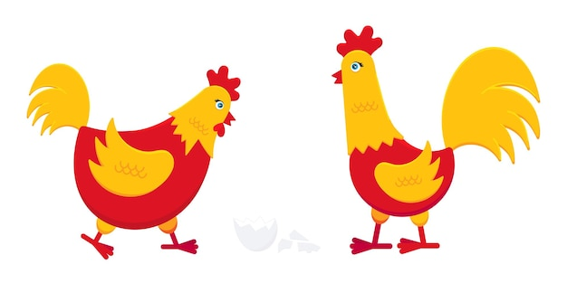 Gele en rode kip met gebroken ei en een haan haan vlakke stijl ontwerp vectorillustratie