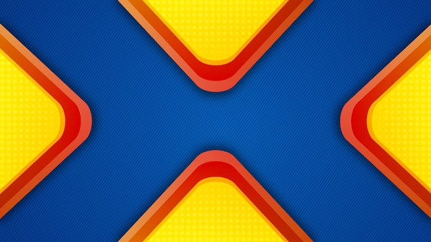 Gele en rode vier driehoek achtergrond met blauwe sjabloon