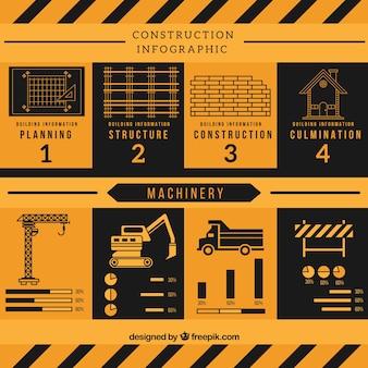 Gele en zwarte bouw infografie in plat design