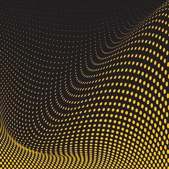 Gele en zwarte golvende halftone achtergrondvector