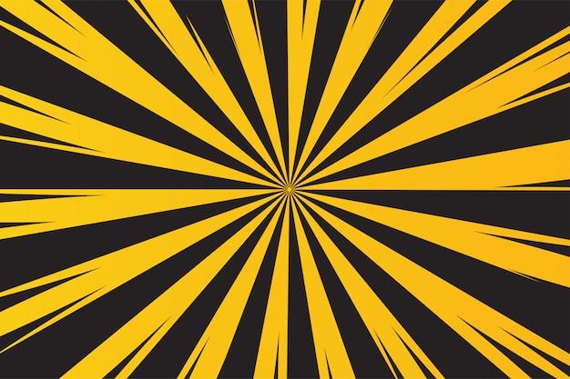 Gele en zwarte stralenachtergrond voor waarschuwing van gevaar.