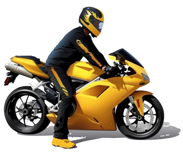 Gele fiets met biker