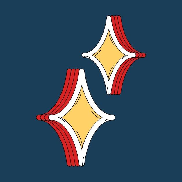 Gele fonkelende sterren sticker vector