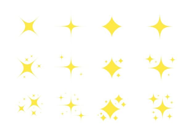Gele fonkelt gouden sterren fonkelingspictogram gloeiende decoratie fonkelt