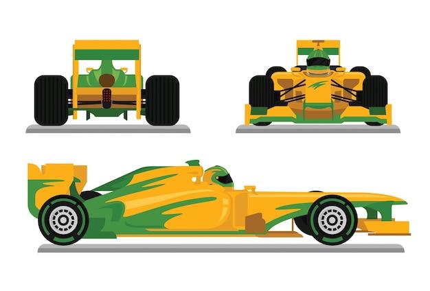 Gele formuleraceauto klaar voor het rennen van kampioenschap