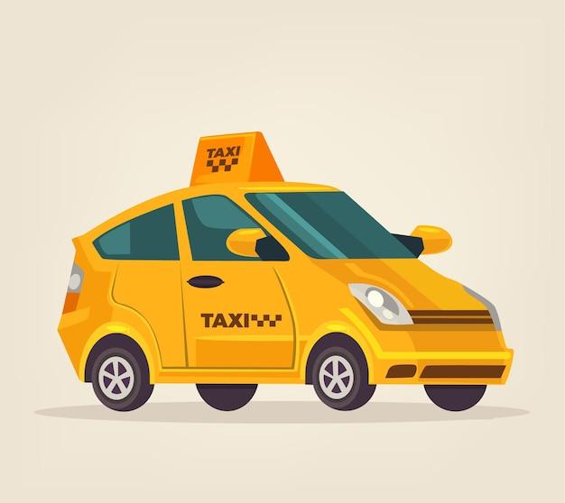 Gele geïsoleerde taxi auto illustratie