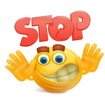 Gele glimlach gezicht emoji stripfiguur met stop gebaar