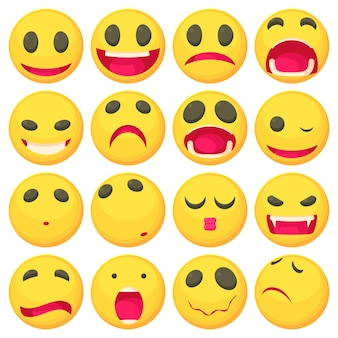 Gele glimlach leuke pictogrammen instellen