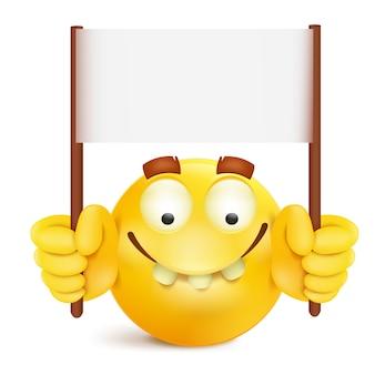 Gele glimlach om gezichtskarakter met berichtbannermalplaatje