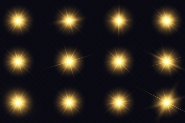 Gele gloeiende lichten en sterren.