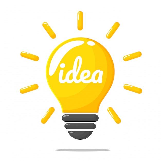 Gele gloeilamp, het concept van het creëren van nieuwe ideeën en innovaties.