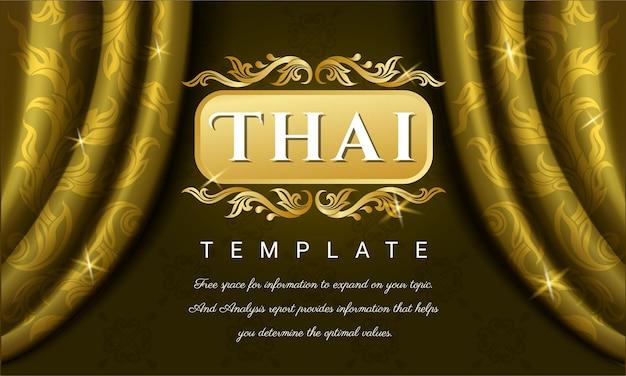 Gele gordijnen met thais traditioneel ontwerp