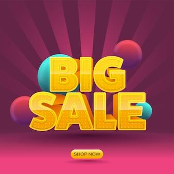 Gele grote verkoop tekst met 3d ballen op roze stralen achtergrond.
