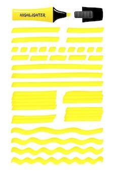 Gele hand getrokken markeringslijnen, gelaagde vakken