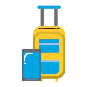 Gele handbagage en smartphone