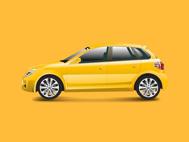 Gele hatchbackauto in een gele vector als achtergrond