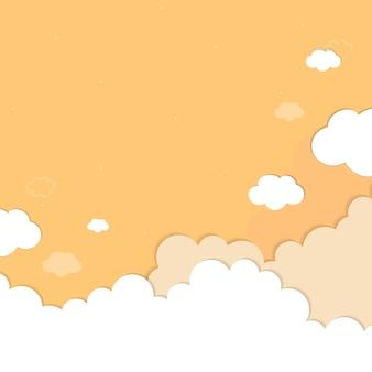 Gele hemel met wolken gevormde achtergrondvector