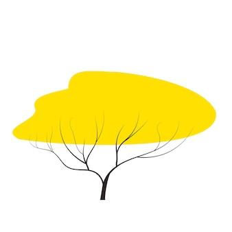Gele herfstboom doodles vector elk seizoen winterherfst plat stijlelement voor games