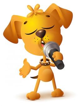 Gele hond die solo microfoon zingt