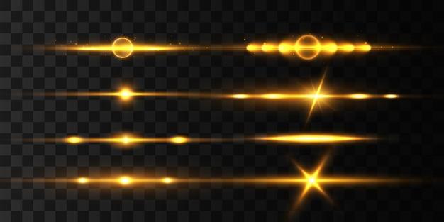 Gele horizontale lensfakkels, laserstralen, lichtflare.