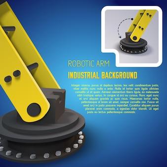 Gele industriële achtergrond met de grote realistische arm van ijzeren robots en met plaats voor tekst